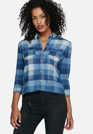 ONLY Nori Check Denim Shirt Blue