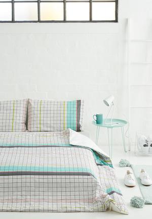 Sixth Floor Neon Grid Duvet Set Bedding 100% Cotton