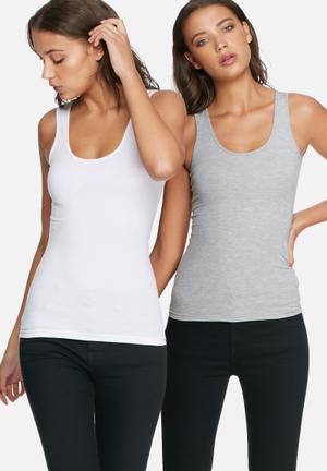 Dailyfriday Scoop Neck Vest - 2 Pack White & Grey