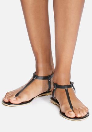 Dailyfriday Talya Leather T-strap Sandals & Flip Flops Black