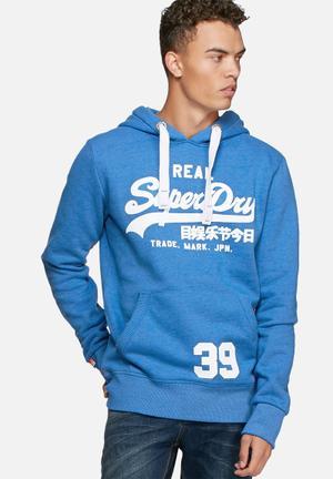 Superdry. Vintage Logo Entry Hood Hoodies & Sweatshirts Blue & White