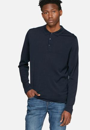 Selected Homme Parker Knitted Polo Knitwear Navy