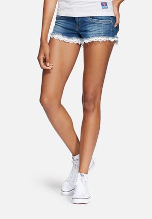 Superdry. Lace Trim Hot Shorts Blue & White
