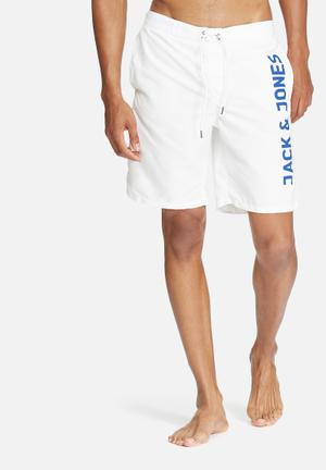 Jack & Jones Jeans Intelligence Sam Swim Shorts Swimwear White & Blue