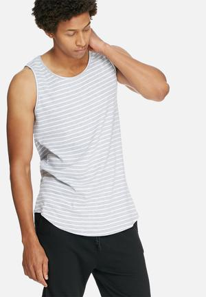 Basicthread Curved Long Tank T-Shirts & Vests Grey & White