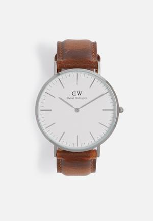 Daniel Wellington Classic Durham Watches Silver And Brown