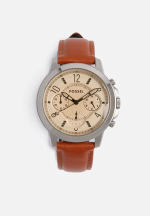 Fossil Gwynn Watches Silver With Brown Strap