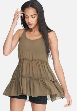 Dailyfriday Tiered Sleeveless Top T-Shirts, Vests & Camis Brown