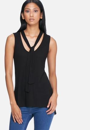 ONLY Jamie Bow Top Blouses Black
