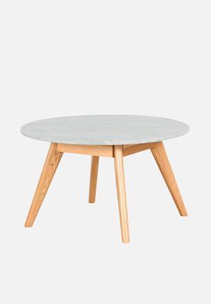 Sixth Floor Oia Marble Round Coffee Table Solid Oak Base, Carrara Marble Top