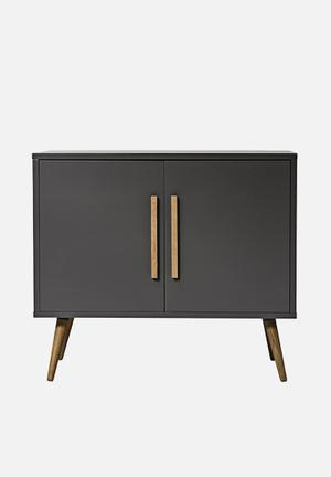 Sixth Floor Ceuta Sideboard Top/bottom/sides: 18mm MDF Wood, Dark Grey PU Lacquer; Legs And Handles: Full Lamela White Oak; Drawer Box/back Panel: MDF Wood, White Melamine Paper;