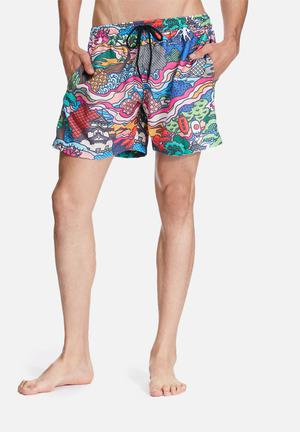 The Lot Surf's Up Swim Shorts Swimwear Blue, Pink & Green