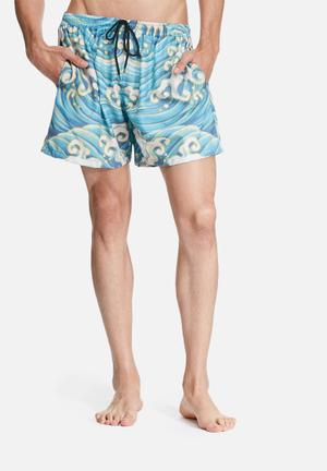 The Lot Surf's Up Swim Shorts Swimwear Blue, Green & White