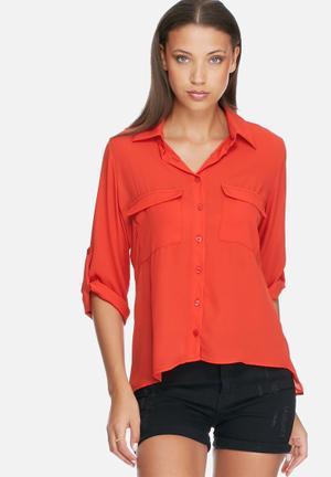 Dailyfriday Split Back Shirt Red