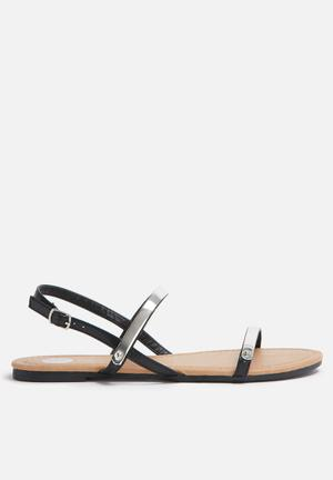 Footwork Gloria Sandals & Flip Flops Black & SIlver