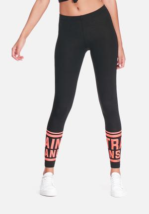 ONLY Play Nanna Jersey Legging Bottoms Black & Bright Coral