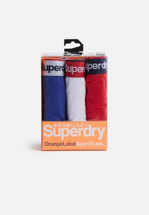 Superdry. 3pack Boxer Underwear Red, Blue & White