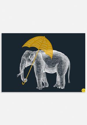 Amalia Restrepo Elephant With Umbrella Art