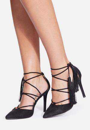 Missguided Tassel Lace Up Heels Black