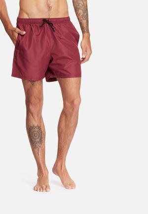 Basicthread Swimshort Basic Swimwear Burgundy