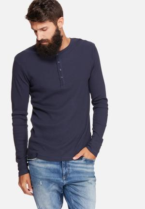 Only & Sons Liam Granddad T-Shirts & Vests Navy