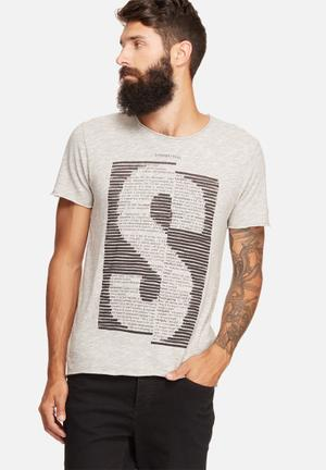 Selected Homme Mille Slim Tee T-Shirts & Vests Grey & Black