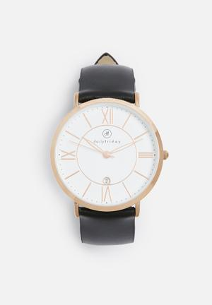 Dailyfriday Olivia Leather Watch Black & Rose Gold