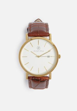 Dailyfriday Lucy Leather Watch Brown & Gold