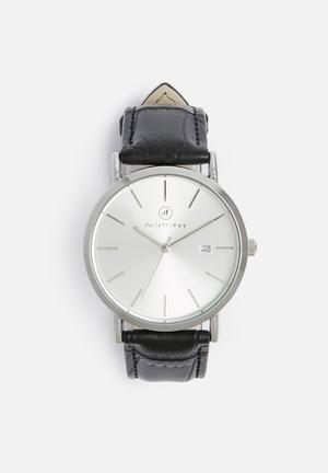 Dailyfriday Hilks Leather Watch Black & Silver
