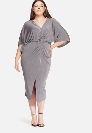 Missguided Plus Size Slinky Kimono Dress Grey