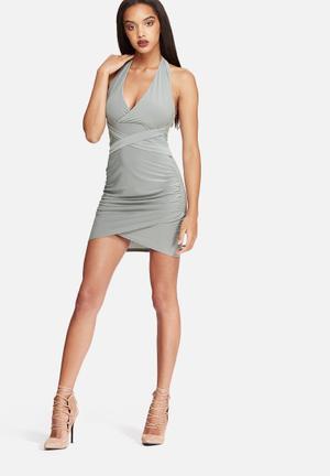 Missguided Wrap Slinky Halterneck Dress Casual Grey