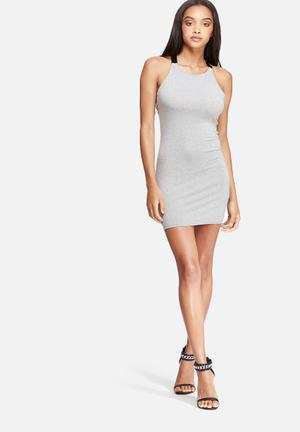 Missguided Harness Strap Mini Dress Occasion Grey