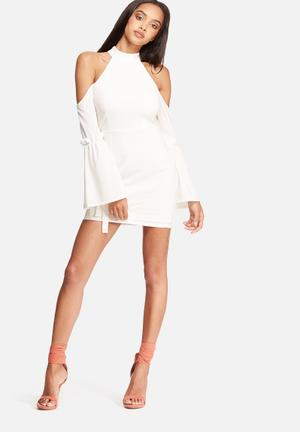 Missguided Frill Cuff Cold Shoulder Dress Occasion White