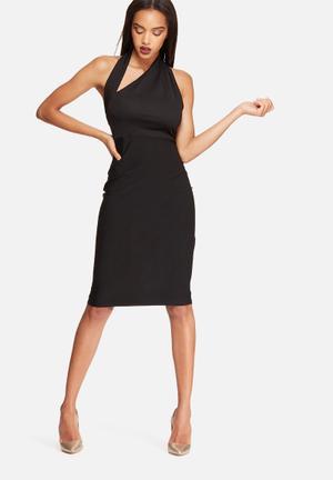 Missguided Halterneck Cut Out Midi Dress Formal Black