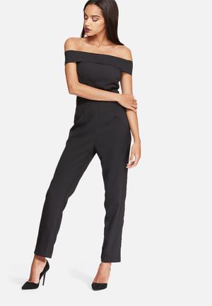 Missguided Crepe Skinny Bardot Jumpsuit Black