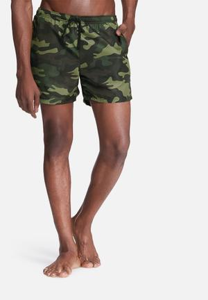 Basicthread Camo Swimshorts Swimwear Green & Black