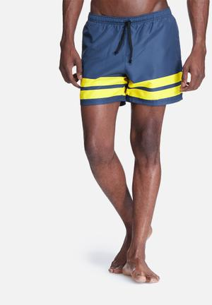 Basicthread 2 Stripe Swimshort Swimwear Navy & Yellow