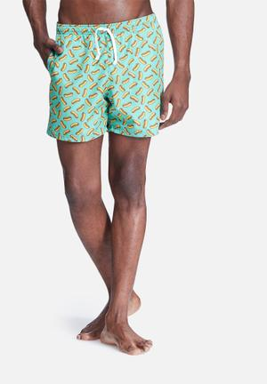 Basicthread Hotdog Swimshort Swimwear Green & Yellow