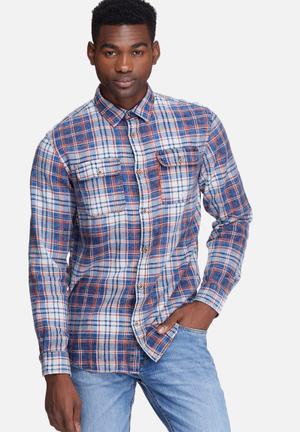 Jack & Jones Vintage Burn Utility Regular Fit Shirt  Blue, White & Red