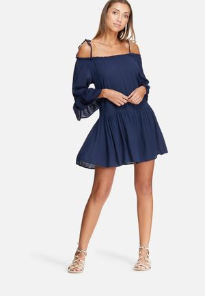 Dailyfriday Tiered Cold Shoulder Dress Casual Navy