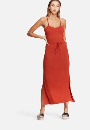 Dailyfriday Column Knit Maxi Dress Casual Burnt Orange