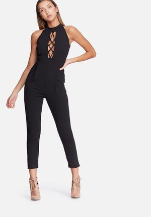 Dailyfriday High Neck Lace Up Jumpsuit Black