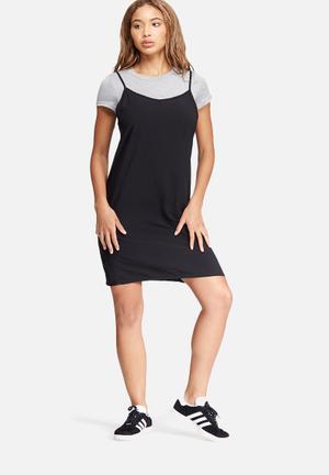 Dailyfriday Slip Dress & Tee Set Casual Grey & Black