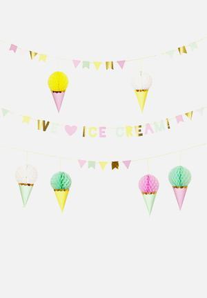 Meri Meri Ice Cream Garland Partyware Paper