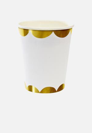 Meri Meri Gold Scallop Party Cups Partyware Paper