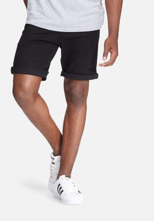 Basicthread Slim Denim Shorts Black