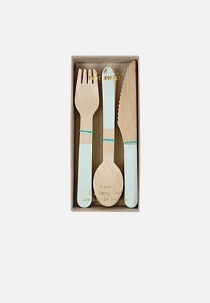 Meri Meri Mint Detail Wooden Cutlery Partyware Birch Wood