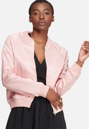Glamorous Satin Bomber Jackets Pink