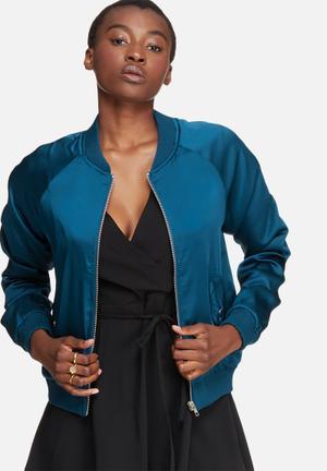 Glamorous Satin Bomber Jackets Blue