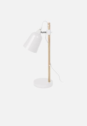 Present Time Wood-like Table Lamp Lighting Metal